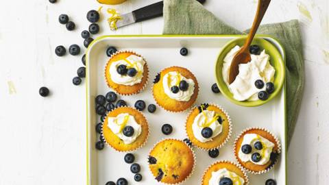 Blueberry muffins met citroenroomkaas
