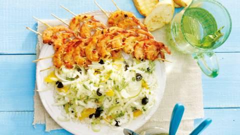 Gegrilde gamba's met rijstsalade