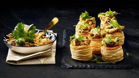 Huisgemaakte pittige makreelrillette geserveerd in knapperige roomboter pasteitjes