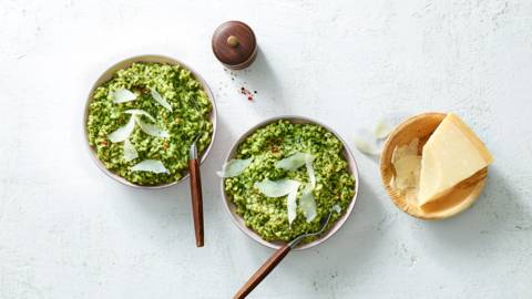 Risotto met spinazie en pesto