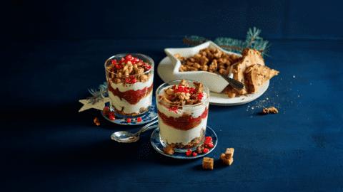 Roomyoghurt met krokant speltbrood, rode vruchtencompote en huisgemaakte granola