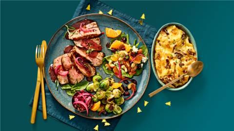 Reefilet met jus, gebakken spruitjes, spinaziesalade en aardappelgratin met truffel