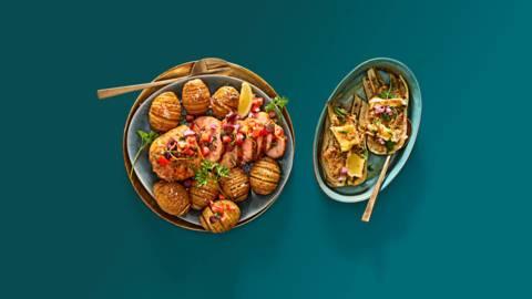 Zalmrollade met antiboise salsa, gegratineerde venkel en Hasselback potatoes