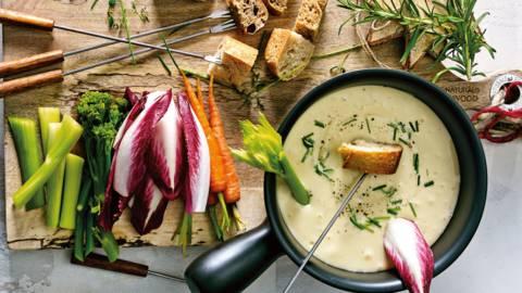 Kaasfondue van 3 kazen met groenten