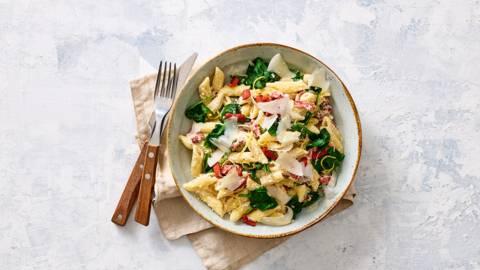 Vegarische pasta carbonara