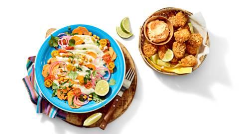 Ceviche van kabeljauw met geroostere mais en guacabites