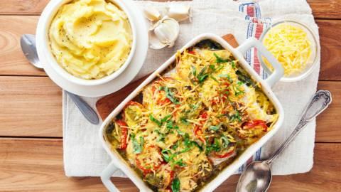 Visgratin met spinazie en tomaat