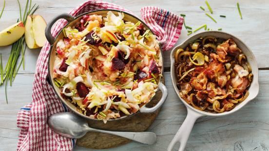 Rode bietenstamppot met witlof, gebakken ui en spek
