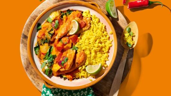 Tikka Massala met kipfilet, paksoi en mango