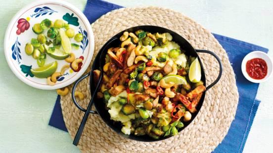 Vegetarische spruitjesstamppot met gember en ketjap