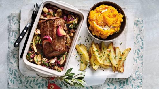 Chateaubriand met paddenstoelen, geroosterde tijmaardappeltjes en pompoenpuree