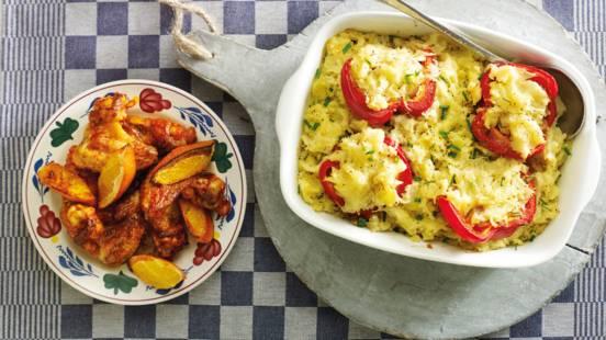 Zuurkoolstamppot met paprika, knoflook en kippenvleugeltjes