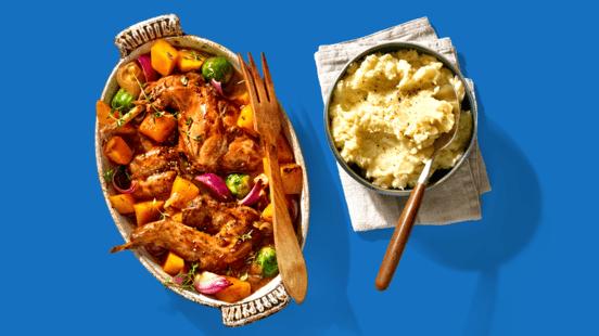 Stoofpot met konijnenbouten, appel, en ovengroenten met aardappel-knolselderijpuree