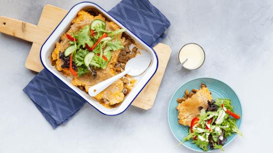 Ovenschotel met shoarma en pompoen-aardappelpuree