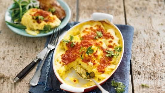 Gratin dauphinois van aardappel en groenten
