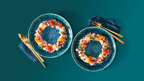 Luxe krans van vistartaar met heilbot en citrusvruchten
