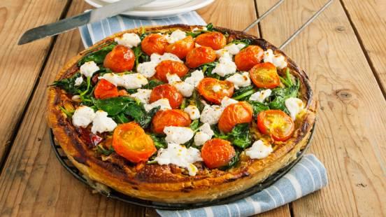 Quiche van cherrytomaatjes, spinazie en geitenkaas