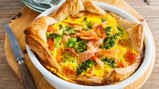 Broccoli quiche met gerookte zalm