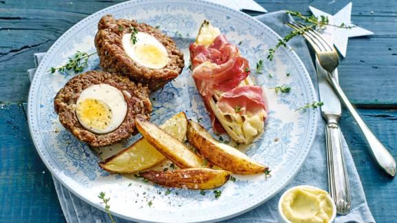 'Scottish eggs' met witlof ham-kaas en geroosterde ovenfrites
