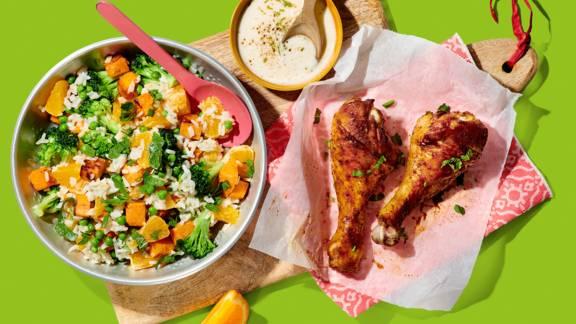 Kipdrumsticks Losie Foroe met frisse rijstsalade