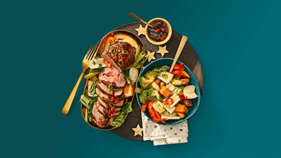 Bavette rollade met sticky sojasaus en kleurrijke ovengroenten