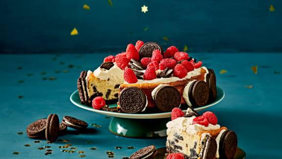 Oreo cheesecake met frambozen
