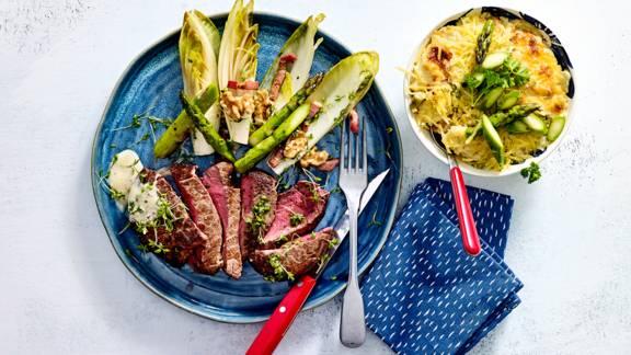 Ossenhaastournedos met asperge-aardappelgratin