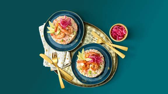 Zalmtartaar met tijgergarnalen, Granny Smith appel en roze ui
