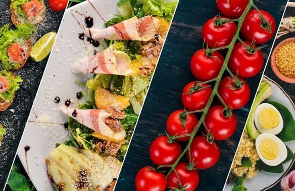 Diverse gerechten op tafel