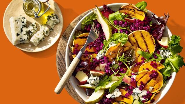 Salade met gegrilde pompoen