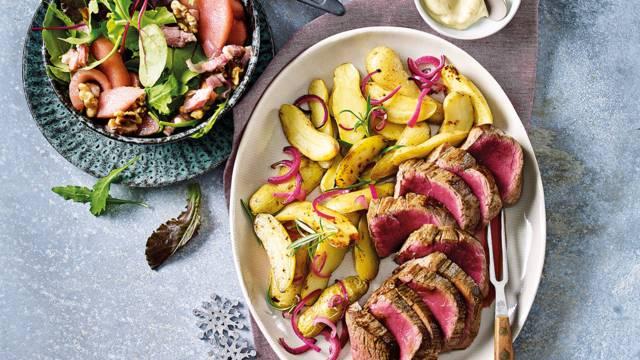 Chateaubriand met truffelmayo, kerstsalade met stoofpeertjes en La Ratte aardappelen