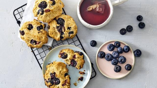 Gezonde blauwe bessen ontbijtkoekjes