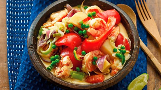 Rode paprika curry met gamba's