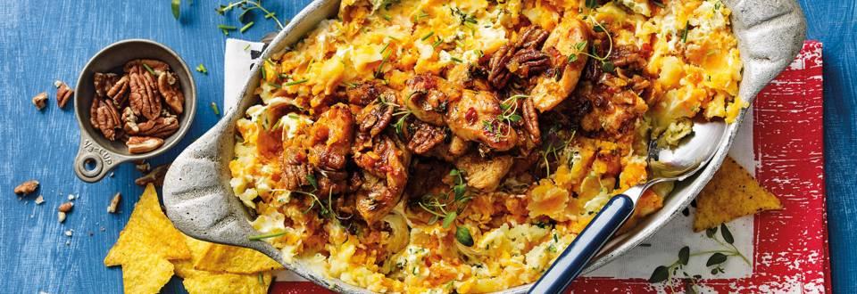 Zoete aardappelstamppot met spicy pecan-kalkoen