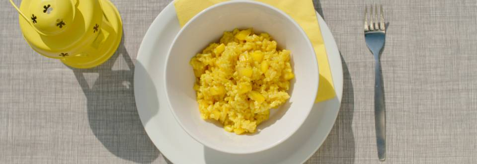 Risotto met kerrie en mango