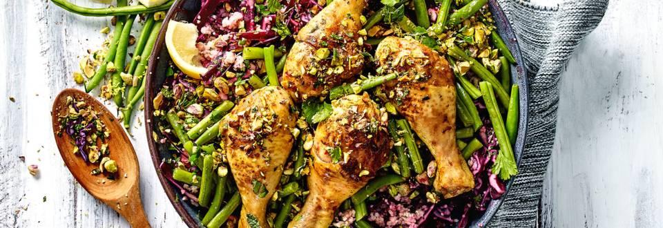 Arabische sperziebonen met kippendrumsticks recept