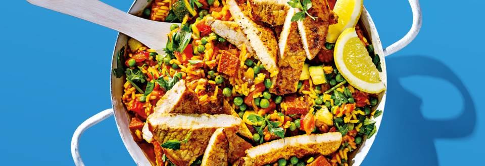 Gemarineerde varkensfiletlapjes met Spaanse paella