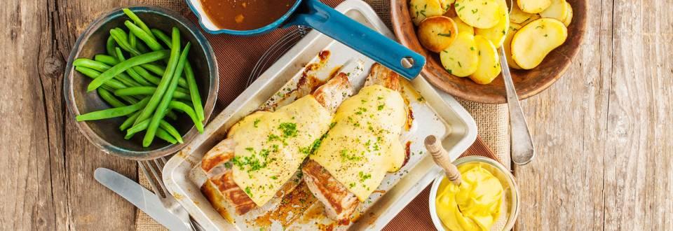 Varkenshaas met een korstje van Corsendonkse kaas en een saus van Belgisch bier