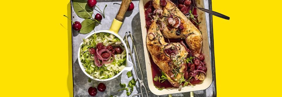 Gemarineerde kip met kersenjus en zomerse knolselderij-andijviestamppot
