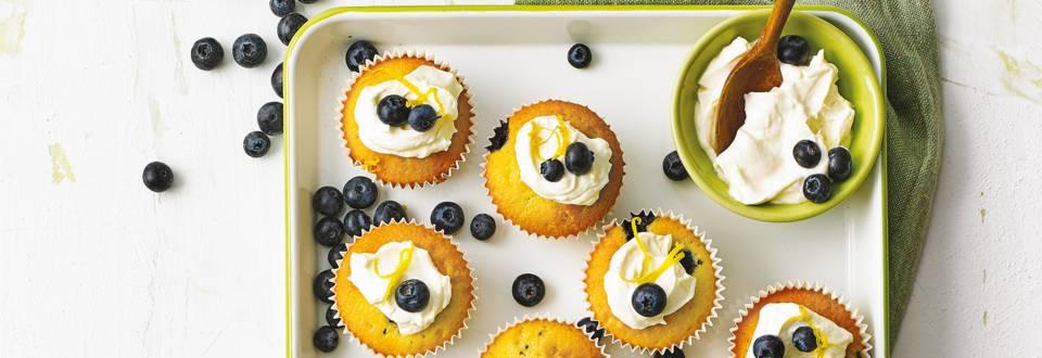 Blueberry muffins met citroenroomkaas