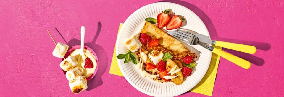 BBQ-pannenkoekjes met banaan, chocolade en marshmallows