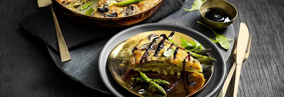 Paddenstoelen asperge frittata met portobello, Pecorino, Vitelotte aardappeltjes