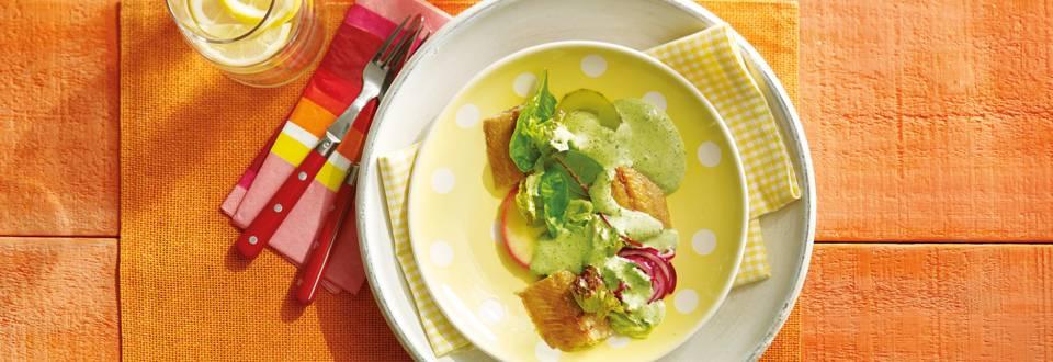 Gerookte haring met zoetzure groente en peterseliecrème