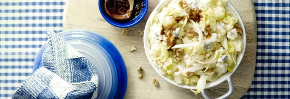 Witlofstamppot met blauwe kaas