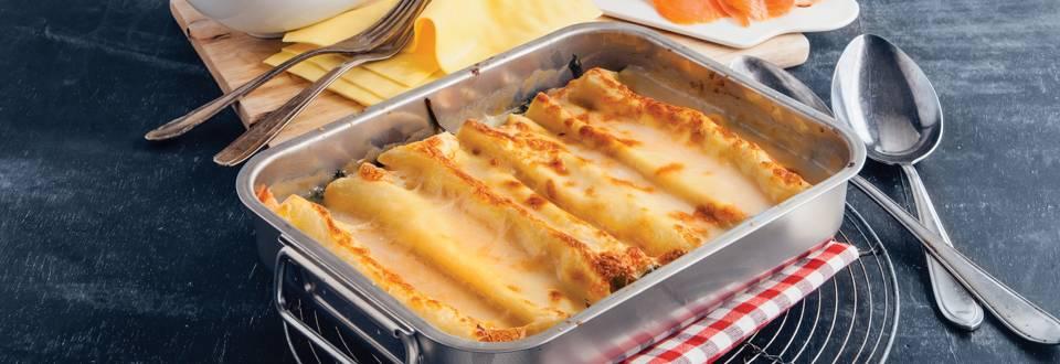 Lasagne met spinazie en gerookte zalm