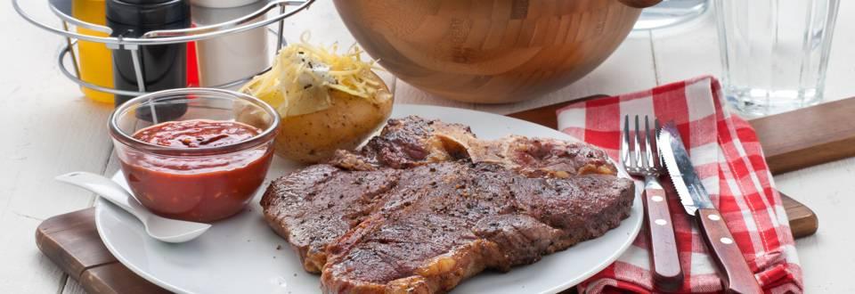 T-bone steak met BBQ-saus