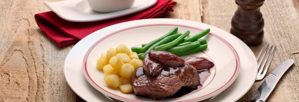 Biefstuk in rode wijnsaus
