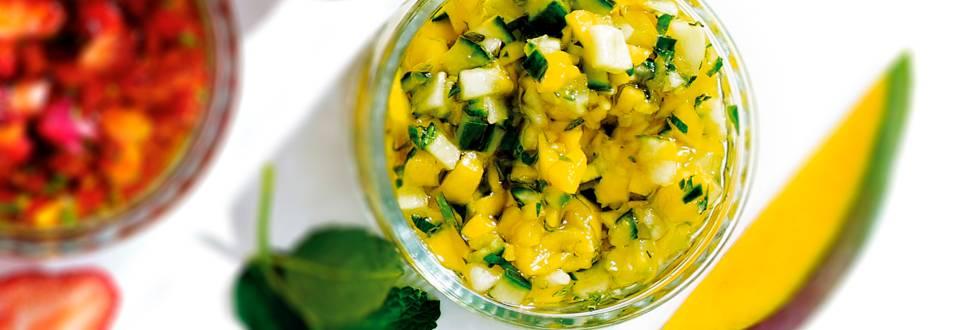 Friszoete komkommer-mangosalsa