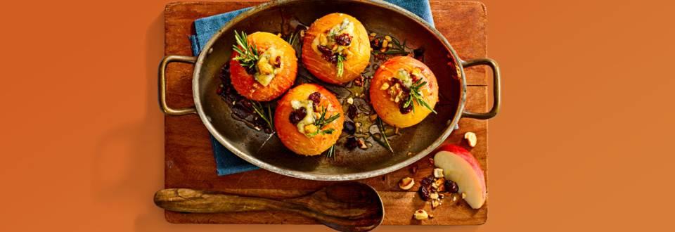 Gevulde appeltjes met Gorgonzola, noten en cranberry's