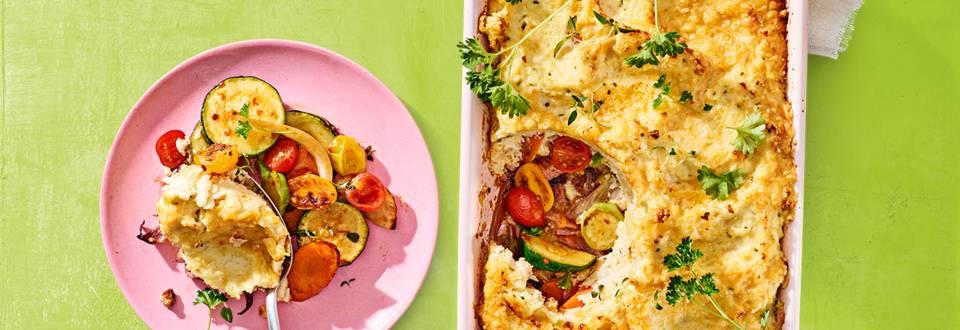 Lente ovenschotel met knolselderij en leftover groenten
